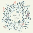 Stylish floral background with birds. Vintage floral card. Ideal for wedding invitations — Stok Vektör