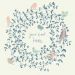 Stylish floral background with birds. Vintage floral card. Ideal for wedding invitations — Stockvectorbeeld