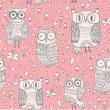 Funny cartoon owls. Seamless pattern can be used for wallpapers, pattern fills, web page backgrounds, surface textures. Bright vector wallpaper — Vettoriali Stock