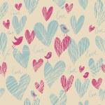 Romantic seamless pattern in cartoon style — Stock Vector