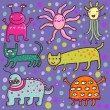 Cute cartoon monsters - Stok Vektör