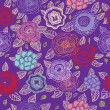 Seamless floral pattern in violet — Stock Vector