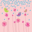 Bird in flowers - summer design — Stock Vector