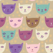 Childish cute pattern - smiling cats. — Image vectorielle