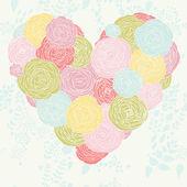 стильный сердце из цветов в векторе. красивые романтические карты. — Cтоковый вектор