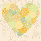 Stylish heart made of flowers in vector. Beautiful romantic card. — Stock Vector
