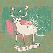 Storia di foresta - cervi e uccelli su sfondo astratto. fumetto illustrazione in vettoriale — Vettoriale Stock