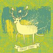 Bos verhaal - herten en vogels op abstracte achtergrond. cartoon afbeelding in vector — Stockvector
