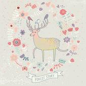ładne tło kwiatowy z kreskówka jelenia. naturalne tapeta wektor — Wektor stockowy