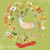 かわいい漫画の鹿といい花の背景。ベクター内の自然の壁紙 — ストックベクタ