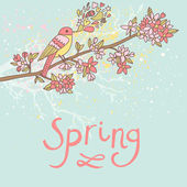 Spring concept card in vector. Cartoon bird on branch in bright colors. Good for any invitations — Stock Vector
