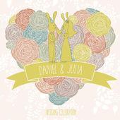 Salve o cartão de data. convite de casamento brilhante. engraçado bonito coelhos no coração elegante feita de flores em vetor — Vetor de Stock