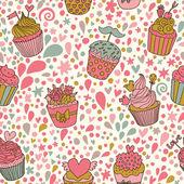 Patrón sin costuras concepto dulce. fondo sabrosa hecha de cupcakes. patrones sin fisuras pueden utilizarse para wallpaper, rellenos de patrón, página web fondos, texturas superficiales. — Vector de stock