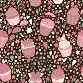 Sweet concept seamless pattern. Tasty background made of cupcakes. Seamless pattern can be used for wallpaper, pattern fills, web page backgrounds, surface textures. — ストックベクタ
