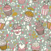 Modèle sans couture de concept doux. fond savoureux fait de cupcakes. motif transparent peut être utilisé pour le papier peint, les motifs de remplissage, les arrière-plans de page web, textures de surface. — Vecteur