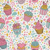 Zoete concept naadloze patroon. smakelijke achtergrond gemaakt van cupcakes. naadloze patroon kan worden gebruikt voor behang, opvulpatronen, web pagina-achtergronden, oppervlakte texturen. — Stockvector