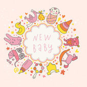 Baby vector card. Cartoon childish elements - baby carriage, stork, hare, bear, rattle and other in funny style. Ideal for invitation — Stock Vector