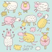 Funny cute sheep. Cartoon vector set in pastel colors. — Stock Vector