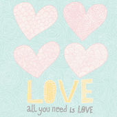 All you need is love. 4 cartoon hearts with floral patterns. Pastel colored romantic set — Cтоковый вектор