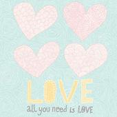 Tout ce dont vous avez besoin est amour. 4 coeurs de dessin animé avec des motifs floraux. romantique ensemble de couleur pastel — Vecteur