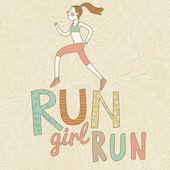 Run, girl, run. Cute cartoon girl running. Health care concept in vector — Stock Vector