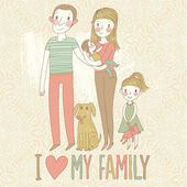 I love my family. Cartoon vector illustration with mother, father, son, daughter and dog. Happy parents and children with pet — Stock Vector