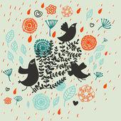 Sfondo floreale con uccelli di cartone animato. modello senza saldatura — Vettoriale Stock