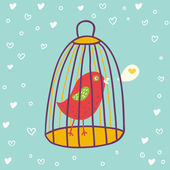 Small bird in a cage in vector — Stock Vector