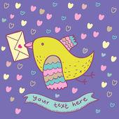 Romantische mail - cute cartoon afbeelding — Stockvector