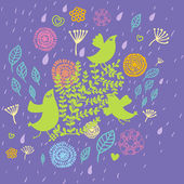 Bird in flowers - summer design — Stock vektor