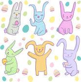 Cute cartoon smiling rabbits set. — Stock Vector
