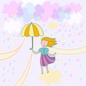 Illustration des printemps mignon couleur pastel — Vecteur
