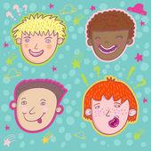 Smiling boys - cute stylish modern set. — Stock Vector