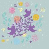 Bird in flowers - summer design — Stock Vector