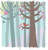 Spring time forest. — Stock Vector