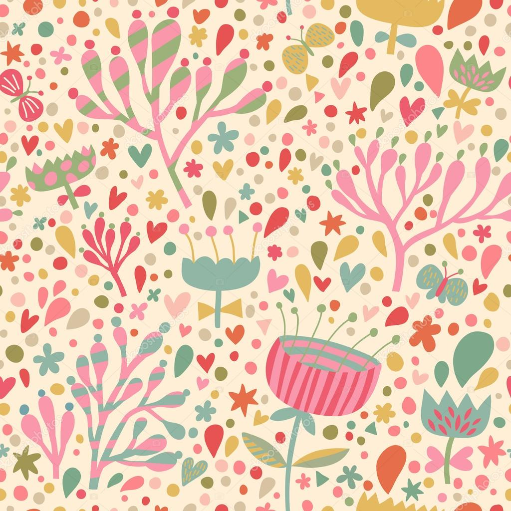 Bright floral seamless pattern. Seamless pattern can be ...