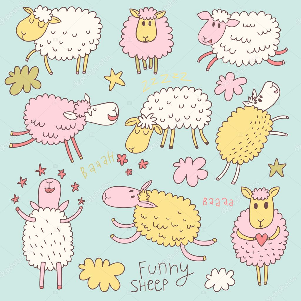 Funny cute sheep. Cartoon vector set in pastel colors. — Stock ...