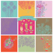Vector set of cute nine floral backgrounds. — Stock Vector #44226389