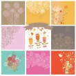 Vector set of cute nine floral backgrounds. — Stok Vektör #44226641