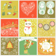 Childish vector set of nine christmas cards. — Stock Vector