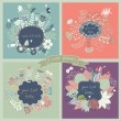 4 stylish floral cards in vector. — Vetorial Stock  #44227925