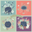4 stylish floral cards in vector. — 图库矢量图片