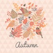 Stylish autumn floral card in pink colors. — Stock Vector