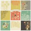 Vector set of cute nine floral backgrounds. — Stock Vector #44228851