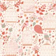 Gentle seamless pattern with cages and birds — Stok Vektör #44229605