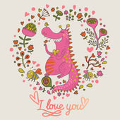 Romantic floral card with cute dragon in bright colors. — Stock Vector