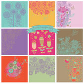 Vector set of cute nine floral backgrounds. — Stockvector