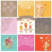 Vector set of cute nine floral backgrounds. — Stok Vektör