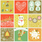 Childish vector set of nine christmas cards. — Stok Vektör