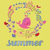 Bright summer card in vector. — Stok Vektör